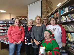 Group shot of parent advocates celebrating Christmas at New Horizons School.