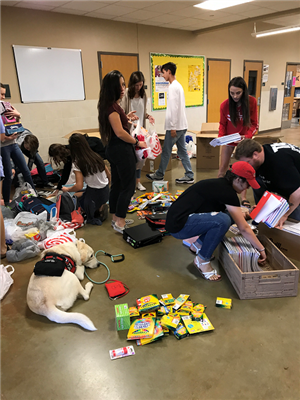 students gathering materials for hurricane recovery
